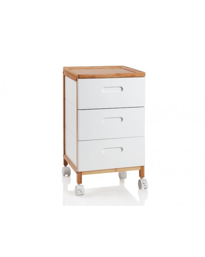 Carro ba o 32x30x58 madera blanco for Bano blanco y madera