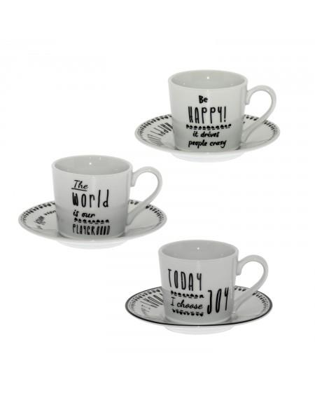 SET 6 TAZAS CAFE C/PLATO PORCELANA