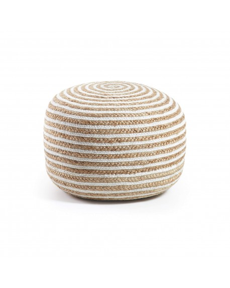 POUF YUTE 50X35 NATURAL BLANCO