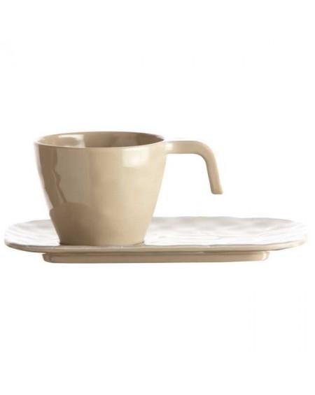 TAZA CAFÉ Y PLATO SAND HARMONY