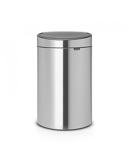 TOUCH BIN NEW 40L. MATT STEEL FINGERPINT